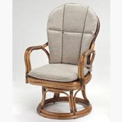 籐・ラタンのハイバック高さ回転椅子/KZR-362